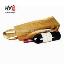 Saco de compras não tecido laminado personalizado único vinho