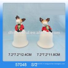 Décoration personnalisée de cloche de Noël en céramique avec une figurine de rennes mignonne