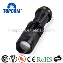 Mini 14500 battery cree XPE zoom small powerful led flashlight