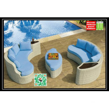 SGS Approved Mediterranean Style All-Weather Resin Wicker Loveseat Sofa with Polyester Fabric Cushion and Pillow Included.