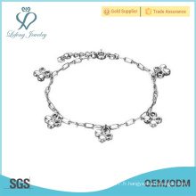 Bracelet en cuir platine à plaques en cuivre, bijoux design en argent
