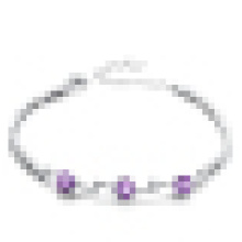 Women′s Fashion 925 Sterling Silver Amethyst Bracelet
