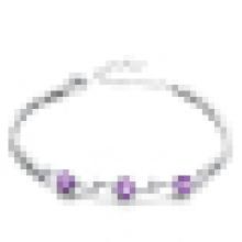 Pulseira de ametista de prata esterlina 925 moda feminina