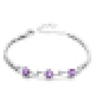Women′s Fashion 925 Sterling Silver Amethyst Bracelet