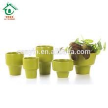 Pot de fleurs en céramique verte de taille mini 2015
