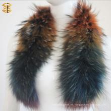 Collar colorido de la piel del mapache para la capa y la chaqueta para las mujeres