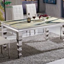 Home Furniture Modern Luxury Stainless Steel Artificial Marble Dining Table