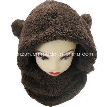 Sherpa Schals Kaninchen Ohren Hut Integrierte Doppelschicht Hut Schal