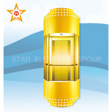 Golden Color Glass Panoramic 13, 10, 8 Person Passenger Elevator