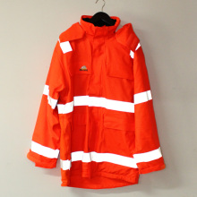 Оранжевый с капюшоном Пу куртка/плащи/светоотражающая/безопасность рабочей одежды для взрослых