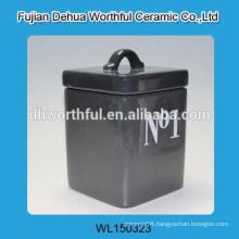 Elegant black color ceramic storage tank with logo