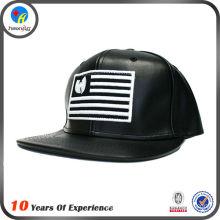 custom made design black leather snapback hat wholesale