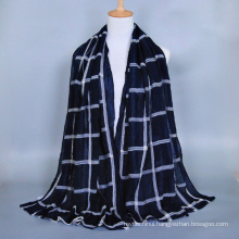 Newest design high quality fashion embroidered geometric pattern women voile scarf