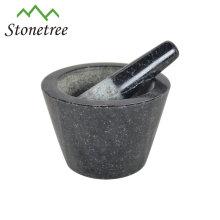 Mortier et pilon 13X8cm en pierre de marbre de granit faits sur commande naturels 100%