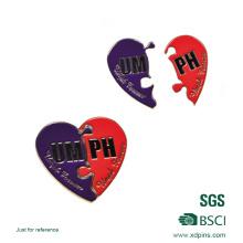 Metal el Pin en forma de corazón de la solapa para el regalo promocional (xd-09014)