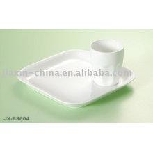 Conjunto de café da manhã de porcelana cor branca JX-BS604