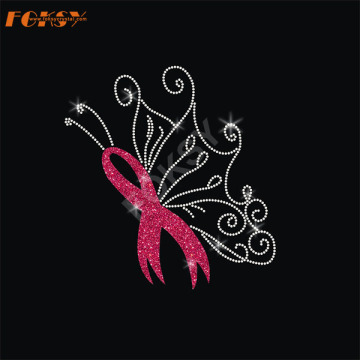 Butterfly Wing Pink Ribbon Heat Rhinestone Transfer
