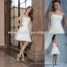 Vestido de casamento feito à mão curto da flor / vestido nupcial