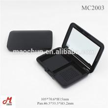 MC2003 retângulo preto 2 blocos pó cosmético recipiente compacto com espelho