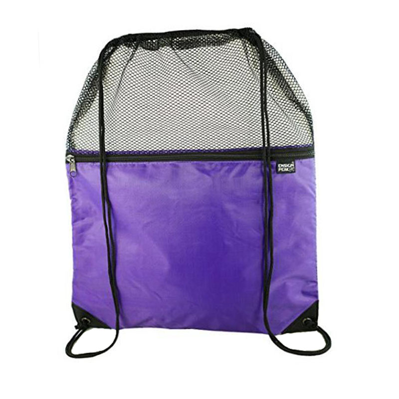 Purple Mesh Drawstring Backpack