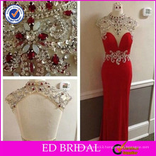 Customer Made China Supplier Alibaba Sheath Crystal Beaded Red Evening dress 2017