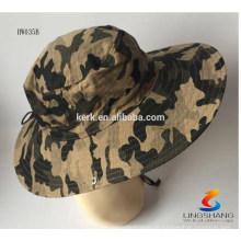 Mens Boonie Jagd Fischen Outdoor Cap Military benutzerdefinierte Camo Bucket Hat mit String benutzerdefinierte Eimer Hut