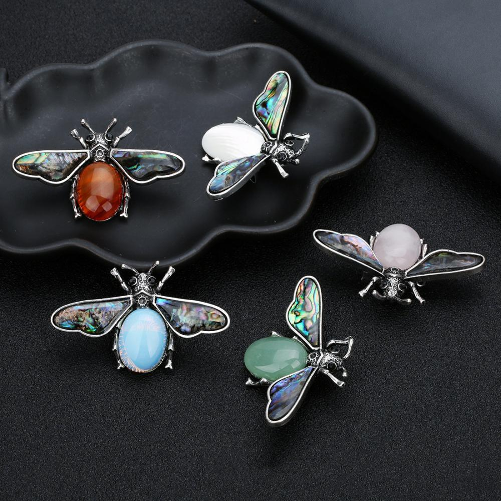 Natural Gemstone Abalone Wing Bee Pendant Brooch 55x34CM for women men
