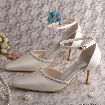Bout pointu robe de mariée sandales avec bride à la cheville