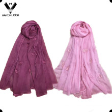Women′s Wholesale Skull Head Embroidery Silk Crinkle Crepe Scarf
