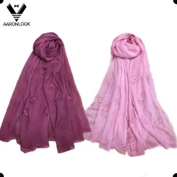 Bufanda del crepé de la arruga de seda del bordado de la cabeza al por mayor del cráneo de las mujeres