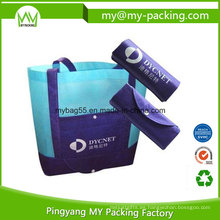 Bolso de compras promocional no tejido plegado modificado para requisitos particulares de los PP