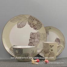 4PCS Floral Ornament Ceramic Dinnerware Set