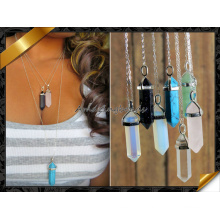 Fashion Necklace, Mix Stone Point Pendant Necklace with Silver Chain (FN072)