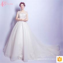 Los últimos vestidos de lujo 2017 de la boda de los vestidos de bola rebordearon los diseños de China