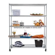 Bequeme 5-Tier-Chrom-Stahl-Wire-Regal-Rack