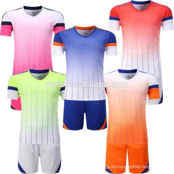Personaliza tu logotipo equipo de fútbol uniforme de alta calidad barato en blanco camiseta de punto