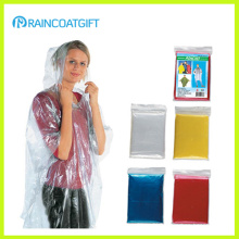 Clear Disposable PE Folding Pocket Raincoat