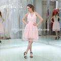 Mais recente Desgaste Do Partido V neck Pink Cor Mini Curto Grandes Meninas Vestido de Festa À Noite
