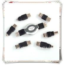 Black 6 em 1 adaptador USB kit de viagem cabo para Firewire IEEE 1394