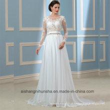 Vestidos de casamento sem encosto mangas compridas Lace nupcial do vestido de casamento Wd001