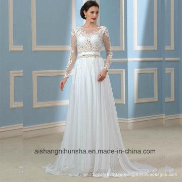С Открытой Спиной Свадебные Платья Длинные Рукава Кружева Свадебное Платье Для Новобрачных Wd001