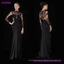 Atacado moda clássico projeta mangas compridas vestido de noite vestido de festa