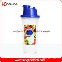 Bouteille en plastique de shaker de protéines de 400 ml avec filtre (KL-7047)