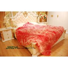 Wholesale Real Tibetan Mongolian Lamb Fur Blanket