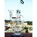 12 pulgadas de altura en línea Percolator Castillo de vidrio de fumar pipa de agua