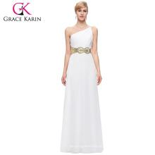 Grace Karin un vestido de noche blanco de la gasa del vestido de partido del baile de fin de curso del hombro 8 Tamaño los EEUU 2 ~ 16 GK000094-1
