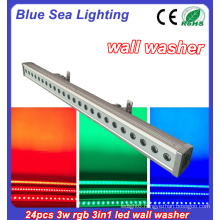 24x3w rgb 3in1 IP65 outdoor led strip wall washer light