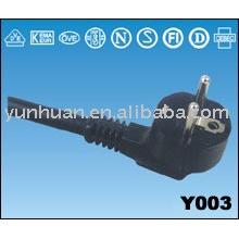 Les fils textiles souples cordon câble PVC de puissance Ac plomb schuko