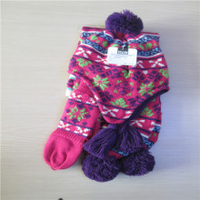 girl's Jacquard knitted gloves scarf hat