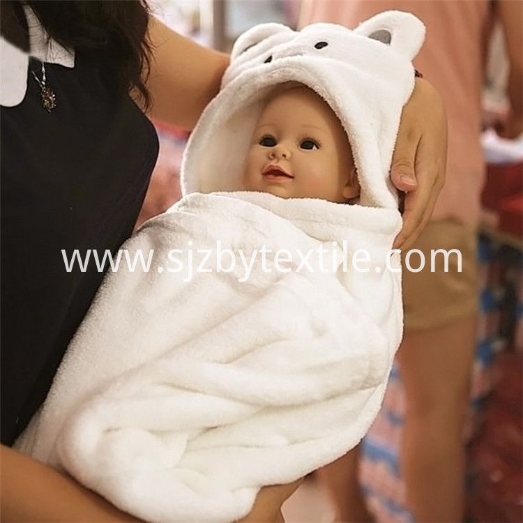 White Panda Baby Hooded Towel